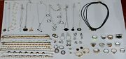 Vintage Sterling Silver 925 Stamped Mixed Jewelry Lot 48 Pieces 340 Grams .