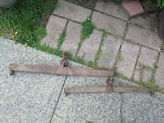 Vintage Primitive Wooden Yoke Oxen Horse Weathered Wood Solid 2 Pieces Large Red