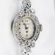 Diamond Hamilton Watch 1960and039s Vintage 14k White Gold And Stainless Steel