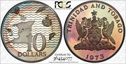 1973-fm Trinidad And Tobago 10 Dollars Pcgs Pr67dcam Toned Only 3 Graded Higher