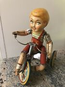 Antique 1930's Kiddy Cyclist Mechanical Tin Litho Wind Up Toy Unique Art Mfg Co.