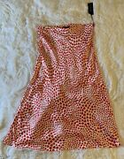 Rachel Zoe Red And White Heart Midi Skirt Satin Like Material Nwt Size Large
