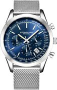 Stuhrling Menand039s Japan Quartz Chronograph Stainless Steel Mesh Band Watch 10 Atm