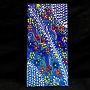 Hand Painted 4 X 8 Inch Turkish Ottoman Iznik Tulip Floral Pattern Ceramic Tile