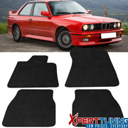 Fits 84-91 Bmw E30 3 Series Coupe Floor Mat Carpet Front And Rear 4 Pc Black Nylon