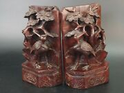 Chinese Carved Wood Bookends Cranes Under A Bush 19th Century