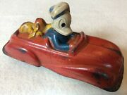 Vintage 1940s Donald Duck And Pluto Red Toy Fire Chief Car Sun Rubber Disneyana