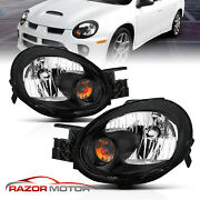 For 2003-2005 Dodge Neon Black Headlights Head Lamps Pair Factory Style W/ Bulbs