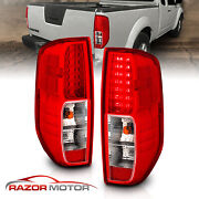 For 2005-2017 Nissan Frontier Red Clear Led Rear Brake Tail Lights Lamps Pair