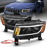 [led Bar] 2014-2016 Jeep Grand Cherokee Led Bar Projector Black Headlights Pair
