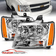 2007-14 Replacement Chrome Headlight Pair For Chevy Avalanche Subarban Tahoe
