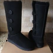 Ugg Bailey Button Triplet Triple Ii Black Suede Tall Boots Size Us 7 Womens