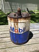Vintage Mobil Oil Can 5 Gallon Can With Spout