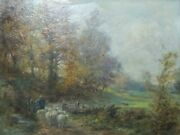 William Greaves 19th Century Oil On Canvas Painting - Shepherds In East Keswick