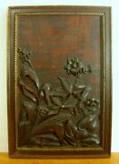 Antique Wooden Plaque/panel Hand Carved Corn Flowers Leaves Exc. Detail And Patina