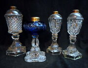 Lot Of 4 Antique 19th C. Glass Oil Lamps