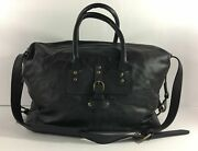 Pottery Barn Pebble Leather Weekender Bag Black New Sold Out At Pottery Barn