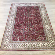 Yilong 4'x6' Nice Red Handmade Carpet Home Decor Hand Knotted Silk Area Rug 197a
