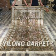 Yilong 5and039x8and039 Handmade Silk Antique Garden Scene Carpets Hand-knotted Rugs 047m