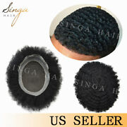 Afro Curl Mens Toupee Lace Skin Hairpiece African American Hair System For Men