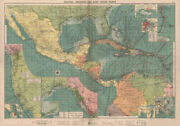 Central America Caribbean Gulf Of Mexico Chart Ports Lighthouses Large 1918 Map
