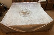 Antique Chinese Hand Embroidery Silk Qing Dynasty Panel Bed Sheet 86 X 93 Inches