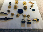 Lot Of 19 Military, Army, Navy Usn Uniform Buttons And Cufflinks Jewelry