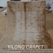 Yilong 5.5and039x8.2and039 Gold Silk Rug Hand Knotted Luxury Hand-made Modern Carpet 1667