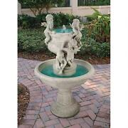Four Winged Angel Cherubs At Play Sculptural Hand Finished Garden Fountain