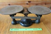 Antique Chatillon Cast Iron And Brass Balance Scale 17h Vintage New York Usa 16oz