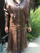 Jona Vintage Brown Leather Coat With Lace With Mother Of Pearl Buttons