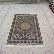 Yilong 4and039x6and039 Silk Rugs Handmade Blue Dome Pattern Carpets Hand-knotted 124a