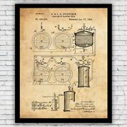 Beer Making Brewing Process 1800s Patent Print Decor - Size And Frame Options