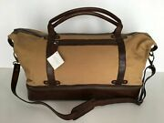 Pottery Barn Saddle Leather And Canvas Weekender Bag Sold Out At Pottery Barn Rare