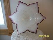 Art Glass 6 Point Star Bowl Design With Gold Flake And Amethyst Rim