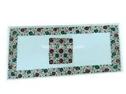 30x60 Marble Dining Table Top Malachite Mosaic Floral Inlay Garden Decor W076b