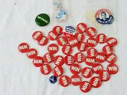 Vintage Win Political Pin Pinback Buttons Huge Lot Of 40 And Ford Coolidge Wallace
