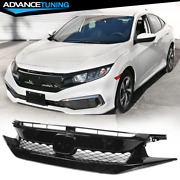 Fits 19-20 Honda Civic T-r Style Front Bumper Mesh Grille Gloss Black Abs