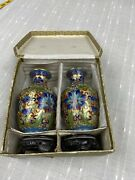 """Vintage Pair Of Chinese Jingfa Cloisonne 6"""" Vases. With Wooden Bases And Box"""