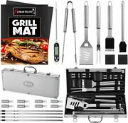 23pc Bbq Grill Accessories Set With Thermometer In Case Steel Barbecue 2 Mats