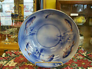 Burleigh Ware Flow Blue Handpainted Antique Fish Design Bowl Burgess And Leigh
