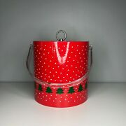 Vintage Christmas Red Acrylic Ice Bucket With White Snow And Green Trees