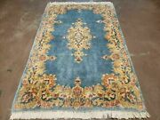 3' X 5' Hand Made India Royal Kirman Wool Area Rug Hand Knotted Carpet Baby Blue