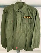 1950s Us Army Military Olive Drab Korea Long Sleeve Shirt Size Small W/ Patch