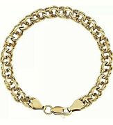 Real 14k Yellow Gold 8mm Double Link Charm Bracelet 8 Long Value 2995
