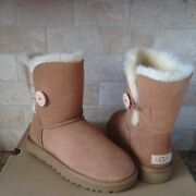 Ugg Classic Short Bailey Button Ii 2.0 Chestnut Suede Boots Size Us 9 Womens