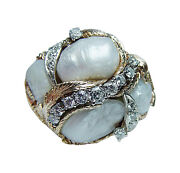 Giant Diamond Baroque Pearl 14k Gold Ring Heavy 1 Ounce