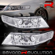 For 2004-2008 Acura Tsx Cl7 Cl9 Chrome Clear Factory Style Projector Headlights
