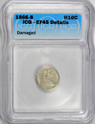 1866-s Seated Half Dime Icg Ef45 Details Priced Right