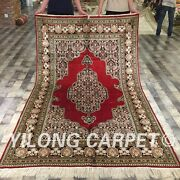 Yilong 5and039x8and039 Medium Handmade Silk Antique Design Carpets Hand-knotted Rugs 058m